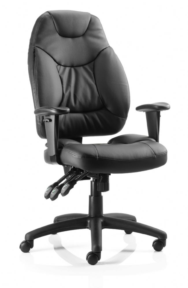 Galaxy High Back Task Chair Operator Office Adjustable Arms Leather & Fabric Available